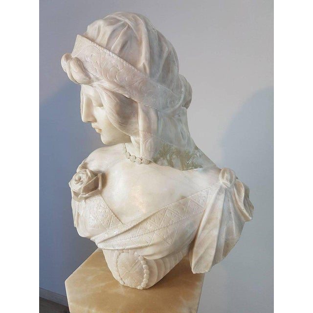 Marble 19th Century Italian A. Cipriani Carrara Marble Bust of a Young Woman Sculpture For Sale - Image 7 of 13