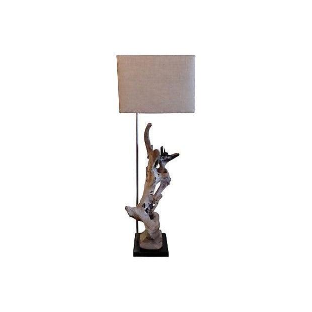 Custom Driftwood Floor Lamp For Sale - Image 4 of 6