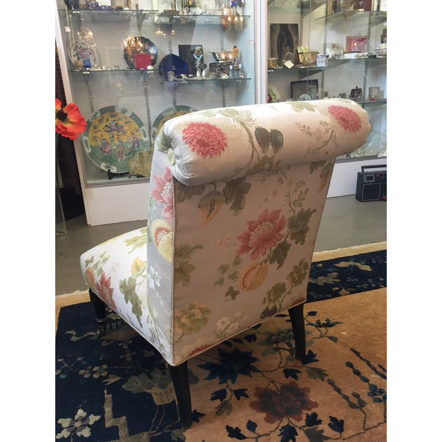 Traditional Late 19th Century Vintage Scalamandre Floral Upholstery Fabric Late Victorian Slipper Chair For Sale - Image 3 of 11