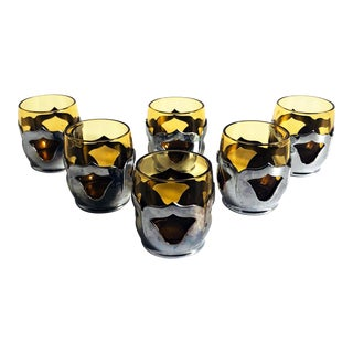 Vintage Amber Shot Glasses in Metal Holders - Set of 6 For Sale