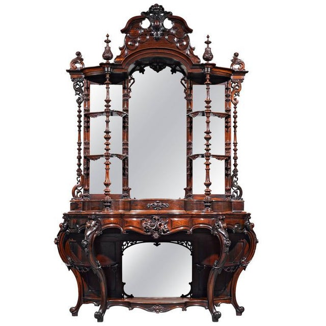 Rococo Revival Rosewood Étagère by Thomas Brooks For Sale In New Orleans - Image 6 of 6