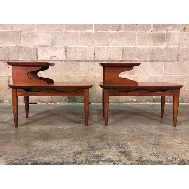 Walnut Mid Century Modern 2 Tier End Tables A Pair For In