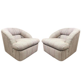 Pair of Swivel Lounge Chairs by Directional For Sale