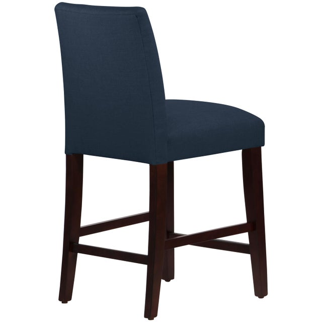 Contemporary Tufted Linen Navy Tapered Counter Stool For Sale - Image 3 of 9