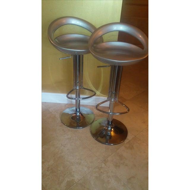 Silver Modern Bar Stools - A Pair - Image 3 of 8
