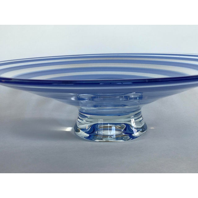 Large Blue Swirl Art Glass Footed Centerpiece Bowl For Sale - Image 4 of 9
