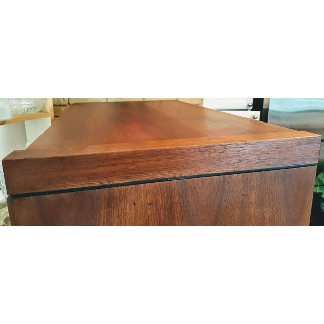 1970s 1970s Danish Modern Dillingham Walnut Conjoined Twin Enclosed Storage Cabinets - a Pair For Sale - Image 5 of 13