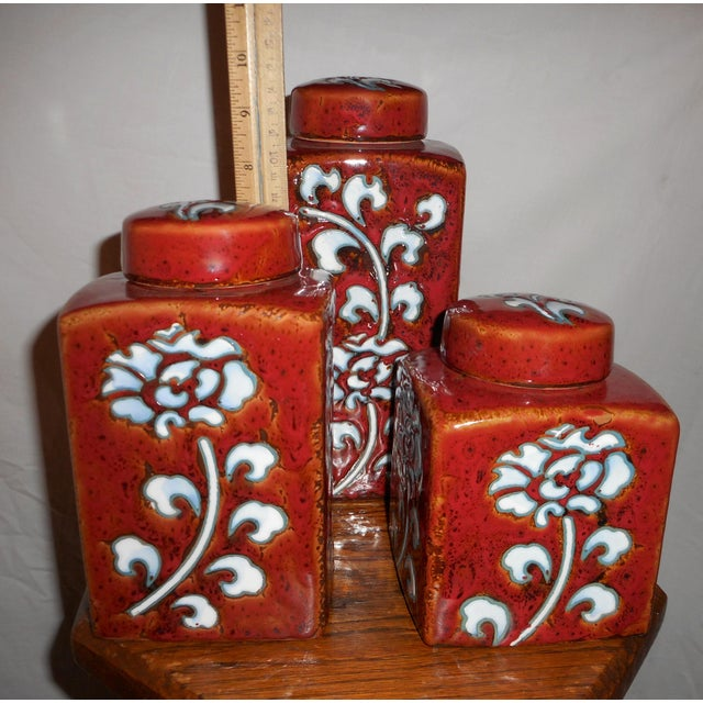 Chic Kitchen Oxblood Red Glaze Pottery Canisters - Set of 3 - Image 9 of 13