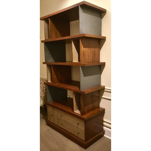 Metal Ad Modern Industrial Modern Metal and Wood Epoque Bookcase For Sale - Image 7 of 8