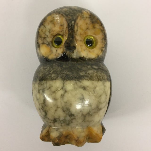 Stone Hand Carved Alabaster Owl For Sale - Image 7 of 9