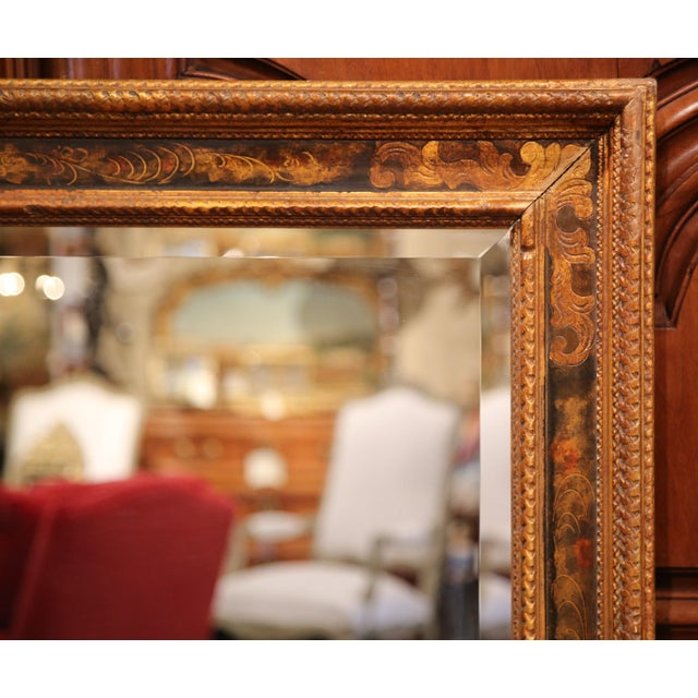 19th Century French Carved Hand-Painted Mirror with Bevelled Glass from Paris - Image 7 of 8