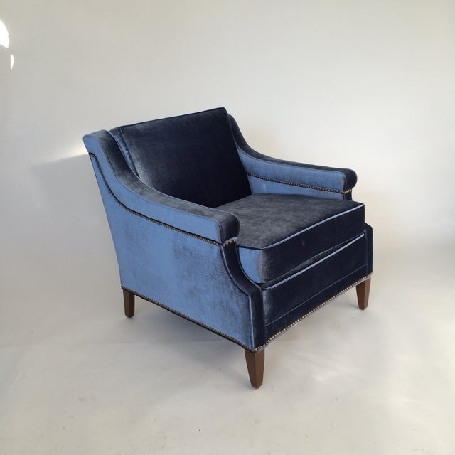 Mid-Century Blue Velvet Club Chairs - A Pair - Image 8 of 10