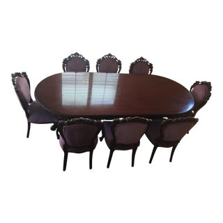 Italian NeoAmerican Vintage Solid Mahogany Dining Table Set For Sale
