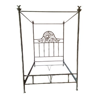 Branch and Bird Motif Canopy Queen Bed For Sale