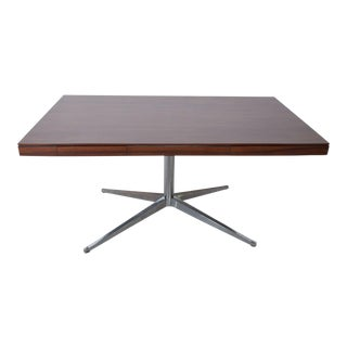 Florence Knoll Executive Rosewood Desk Chrome Plated Legs Mid Century Modern For Sale