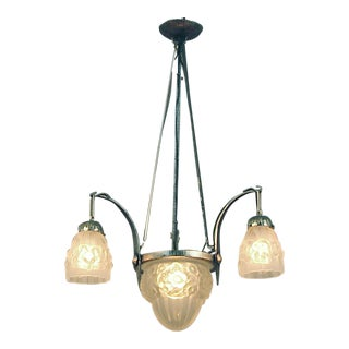 Art Deco French 4-Light Nickeled Wrought Iron Chandelier With Center Bowl For Sale