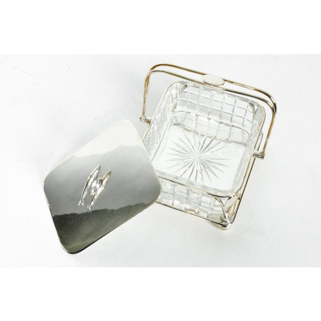 Old English Silver Plated Holder/ Cut Crystal Caviar Dish For Sale - Image 4 of 7