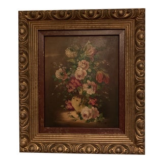 Early 20th Century Antique Floral Oil Still Life Painting For Sale