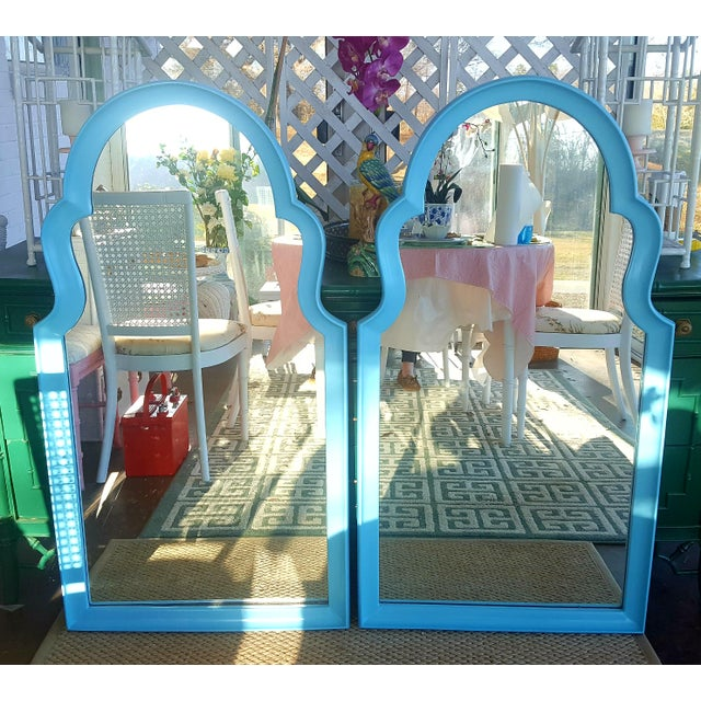 Set of 2- Vintage Moroccan Style Turqouise Blue Mirrors For Sale - Image 10 of 10