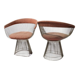 Mid-Century Modern Warren Platner for Knoll Chrome Dining Chairs - A Pair For Sale