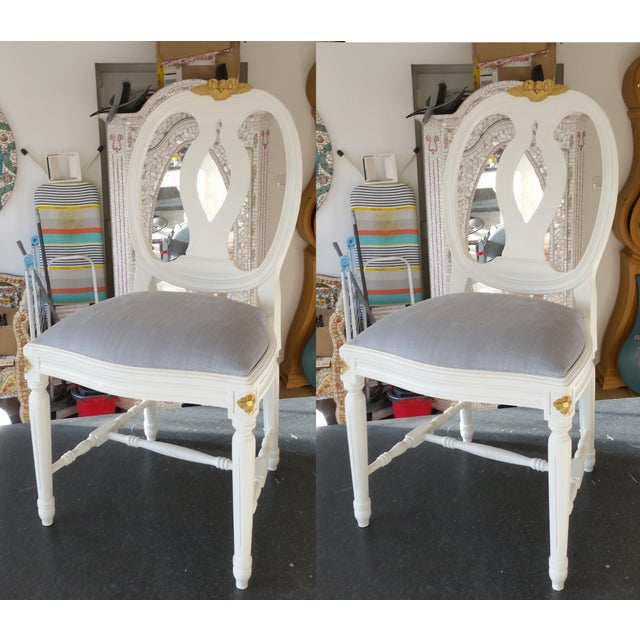 Metal Carved Rose Gustavian Chairs With Gold - Pair For Sale - Image 7 of 11