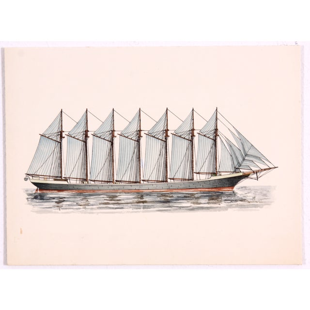 The sails on the seven masts of the 1902 schooner, Thomas W. Lawson, the largest schooner ever built, are filled with wind...