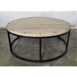 Round Wood and Iron Coffee Table Rustic Boho Modern Farm Style Preview