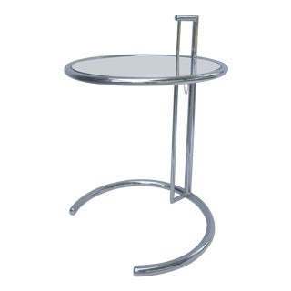 Vintage Eileen Gray Chrome and Glass Adjustable Cantilever Side Table