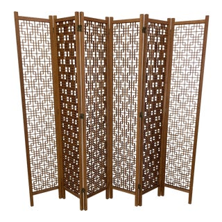 Teak 6-Panel Folding Screen For Sale