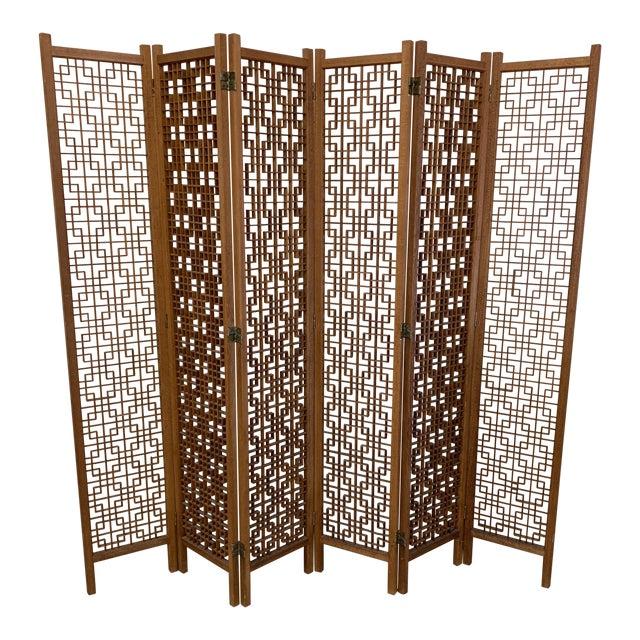 Teak 6-Panel Folding Screen For Sale