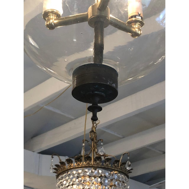 Mid 19th Century Antique Traditional Hurricane Style Foyer Lantern Chandelier For Sale - Image 4 of 8
