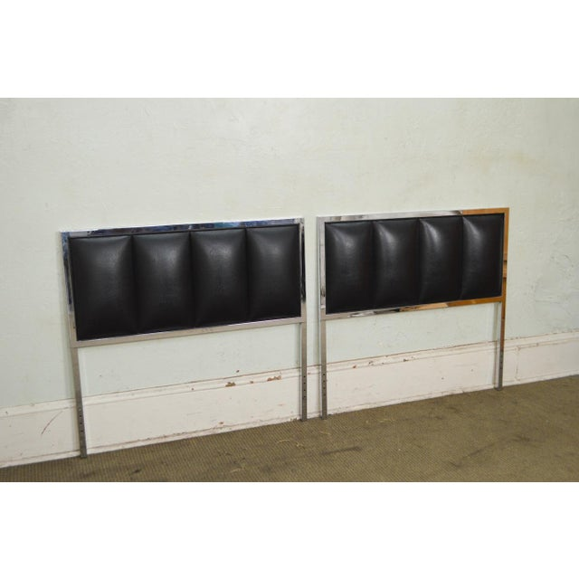Milo Baughman Mid Century Modern Pair of Chrome & Black Faux Leather Twin Headboards - Image 7 of 11