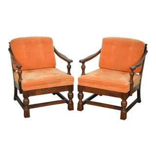 Ethan Allen Royal Charter Oak Jacobean Style Lounge Arm Chairs - A Pair