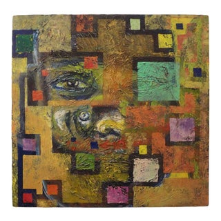 Mid-Century Modern Abstract Oil Painting on Canvas For Sale