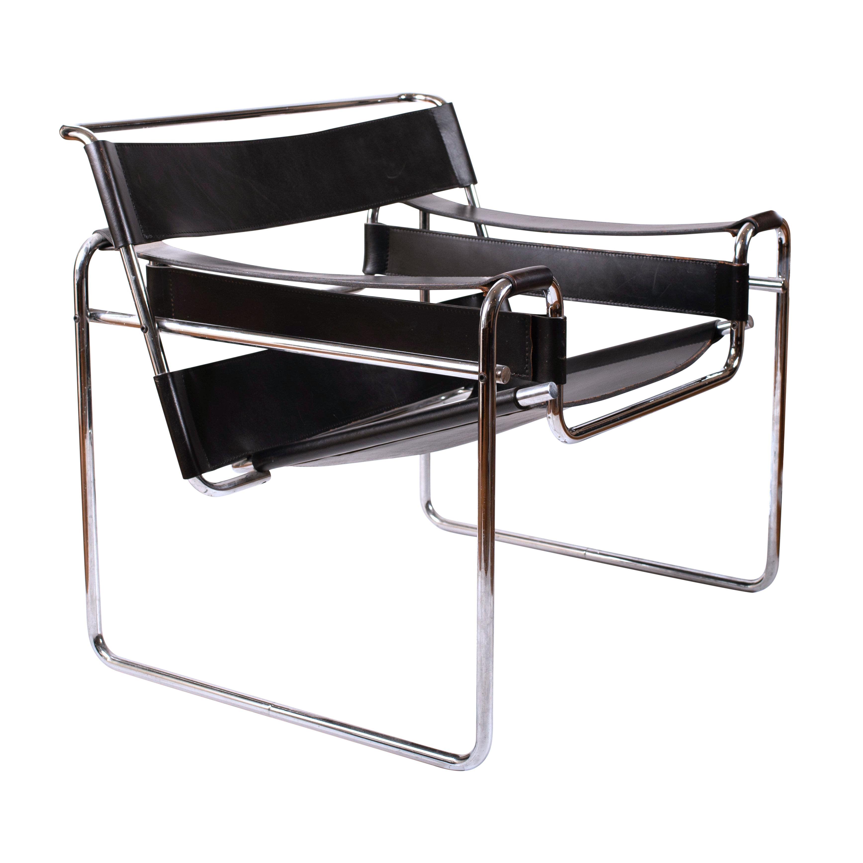 Miraculous Vintage Marcel Breuer Mid Century Modern Wassily Black Strap Leather Chair Inzonedesignstudio Interior Chair Design Inzonedesignstudiocom