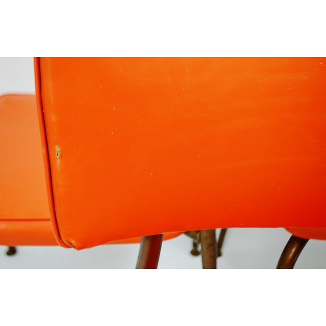 Mid-Century Modern Orange Dining Chairs - Set of 5 - Image 9 of 11