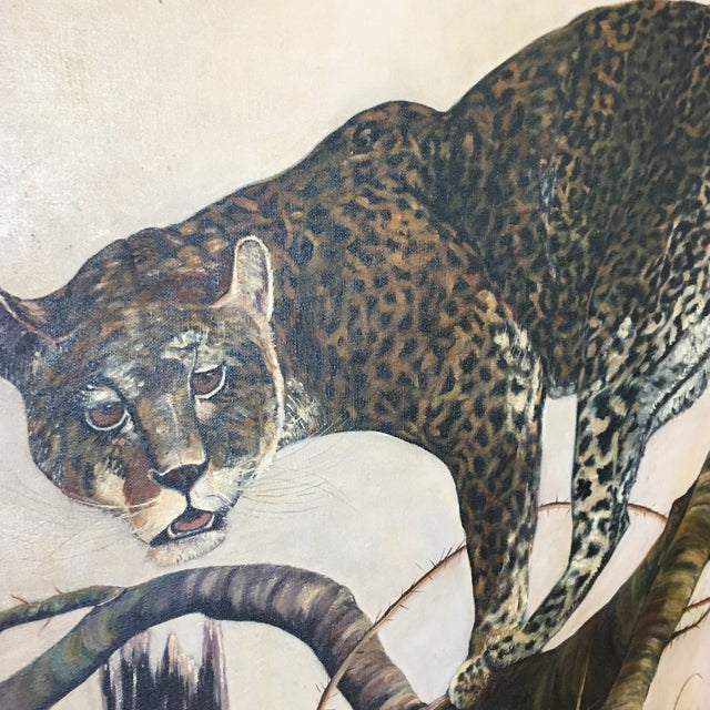Mid-Century Leopard Oil Painting For Sale - Image 4 of 11