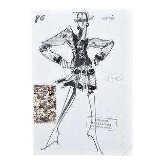 1980s Original Vintage Balenciaga Fashion Designwith Fabric For Sale