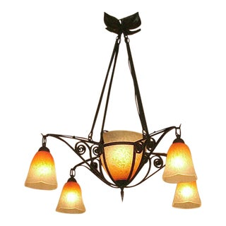 French Wrought-Iron Chandelier; 5 Lights, Ombre Orange Colored Schneider Art Glass Shades Ca. 1915 For Sale