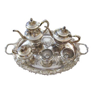 1900s Antique Gorham Gadroon A3180 Sterling Silver Tea Service & Tray - Set of 6 For Sale