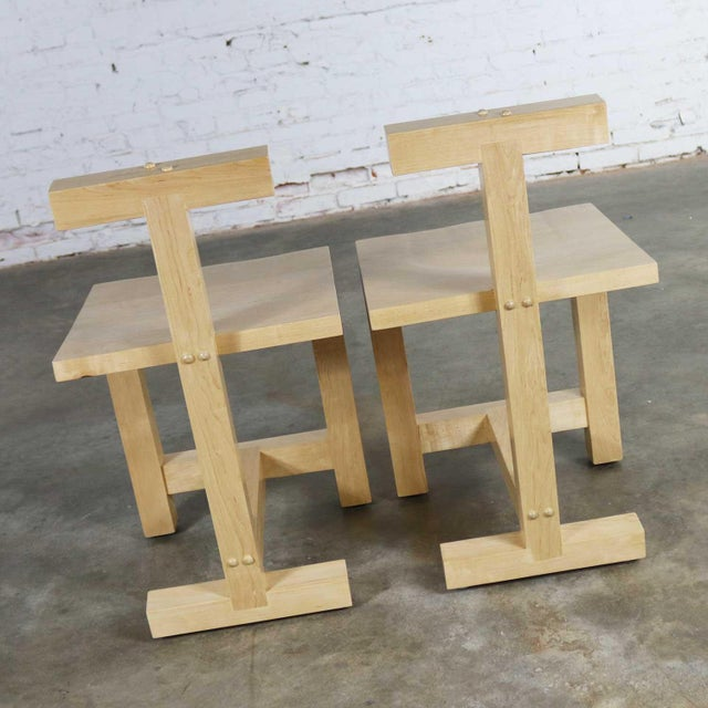 Ettore Sottsass Pair Post-Modern Hand-Crafted Maple Chairs Signed Brice B. Durbin 1996 For Sale - Image 4 of 13