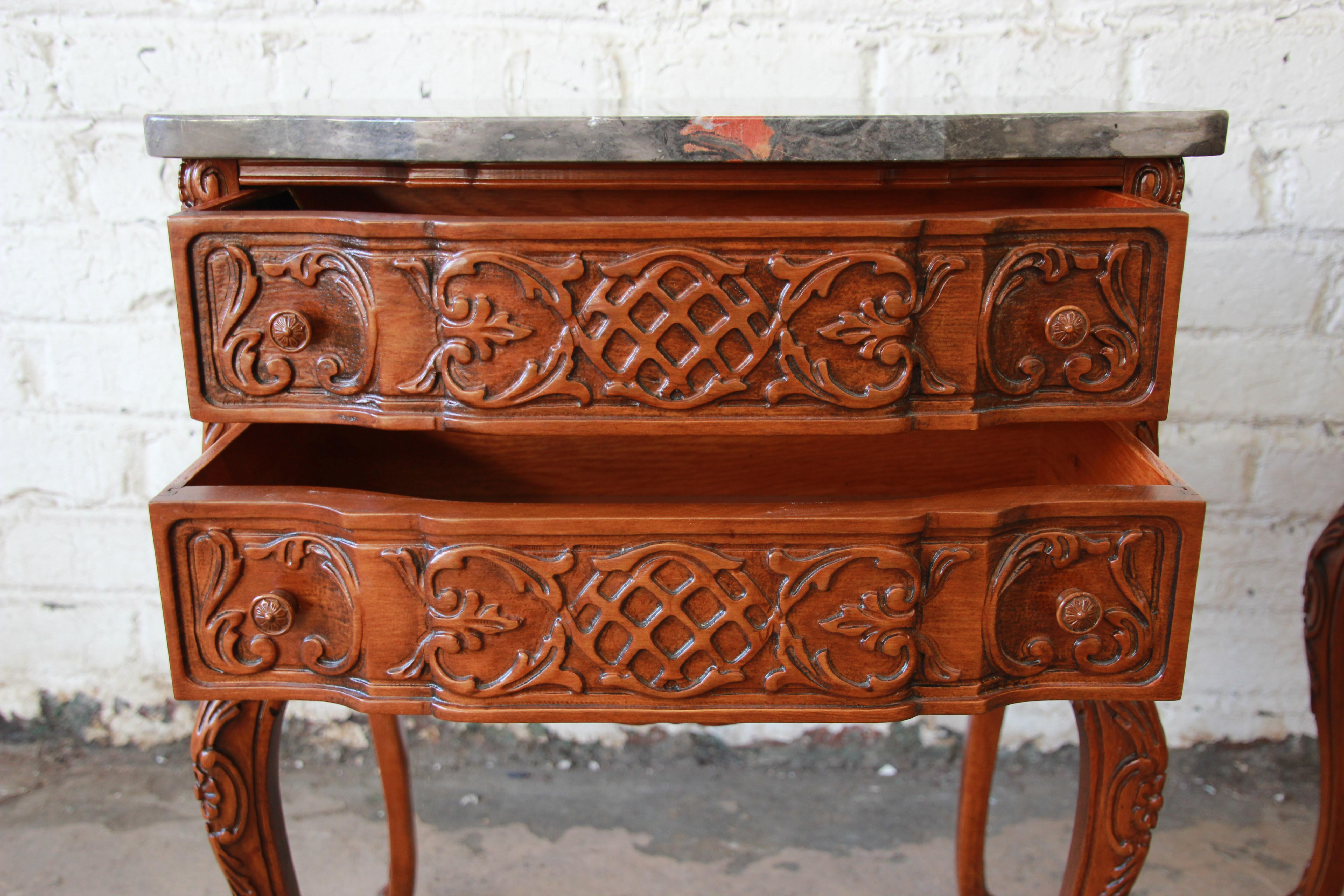excellent carved louis xv style marble top nightstands - a pair   decaso Marble Top Nightstand