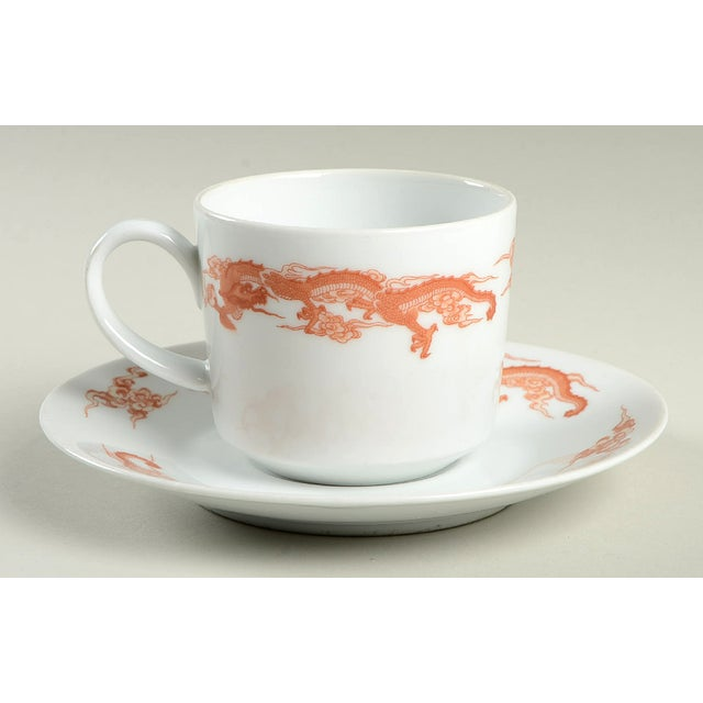 Fukagawa Fukagawa for Tiffany Dragon Red Cup & Saucer Set/6 For Sale - Image 4 of 11