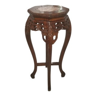 20th Century Asian Antique Rosewood & Pink Marble Oriental Plant Stand For Sale