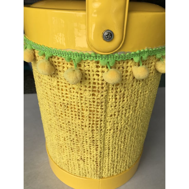 Hollywood Regency Vintage Mid-Century Modern Yellow Fringed Ice Bucket For Sale - Image 3 of 10