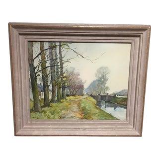 Vintage Landscape Watercolor Signed Painting