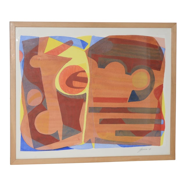 """Katherine Barieau (1917-2010) """"Child's Room"""" Abstract Watercolor C.1967 For Sale"""