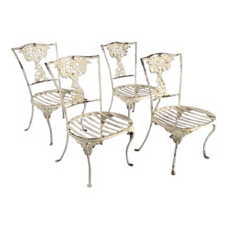 1960s Vintage Neoclassical Outdoor Garden Chairs- Set of 4 For Sale