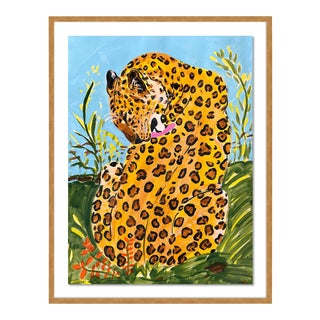 Licking Leopard by Jelly Chen in Gold Framed Paper, Medium Art Print For Sale