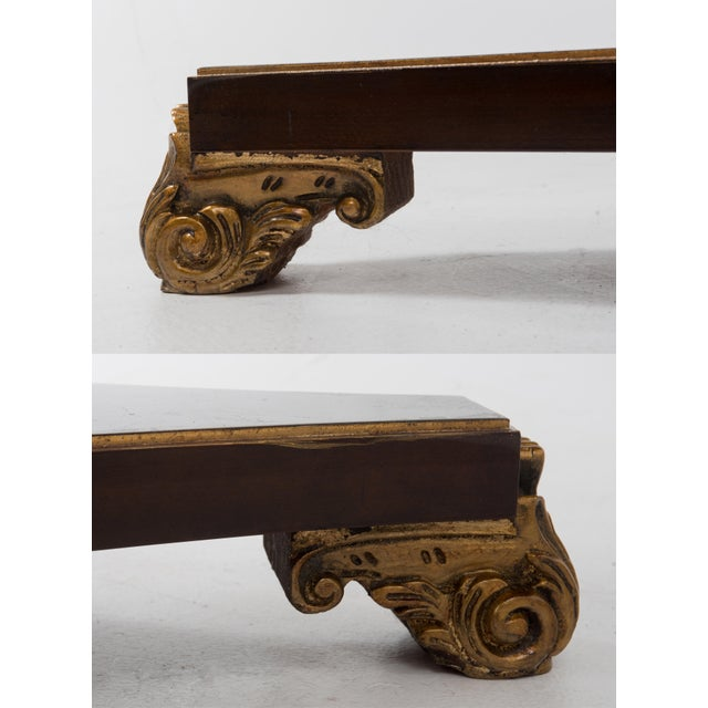 Italian Center Table Pedestal Base Inlaid Mahogany Burl Gilt Italy 1970s For Sale - Image 11 of 13